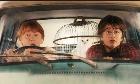 Harry Potter in a car