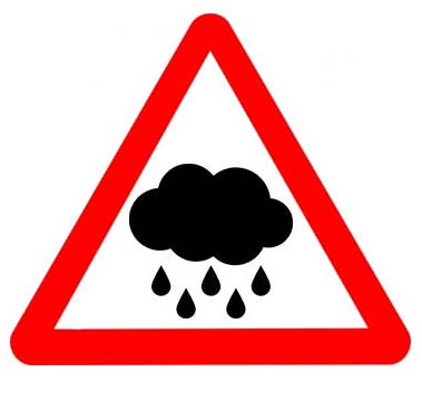 ainy weather danger sign flying car