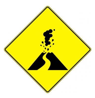 volcano danger flying car concept traffic signs